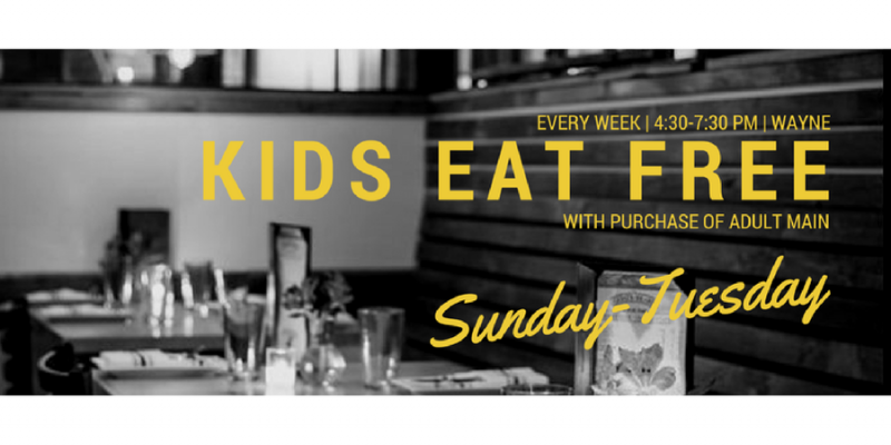 Join us for dinner Sunday-Tuesday from 4:30-7 PM - kids (under 12) eat free with purchase of adult main!